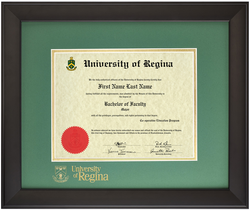 Infused Black Diploma Frame – University of Regina Diploma Frames